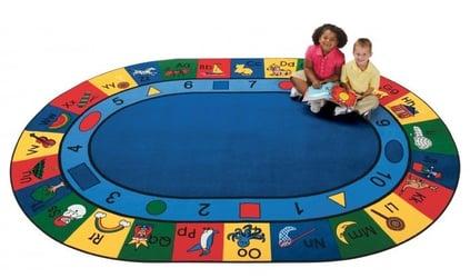 Blocks of Fun Oval Carpet 6'9 x 9'5