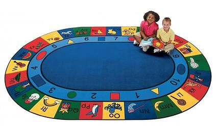 Blocks of Fun Oval Carpet 6'9 x 9'5